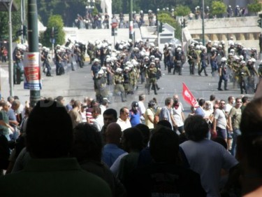 police forces at syntagma square, photo taken by Asteris Masouras