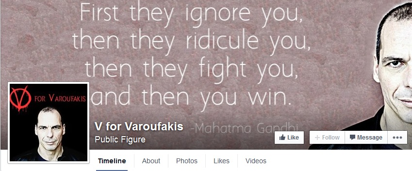 Satirical Facebook page dedicated to new Greek Financial Minister, Yanis Varoufakis. Screenshot from Facebook.